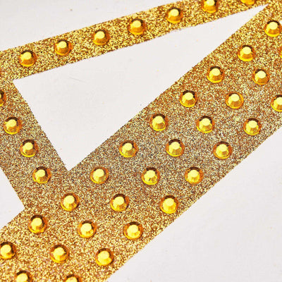 6 inch Gold Self-Adhesive Rhinestone Letter Stickers, Alphabet Stickers for DIY Crafts - U