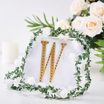 6 inch Gold Self-Adhesive Rhinestone Letter Stickers, Alphabet Stickers for DIY Crafts - W