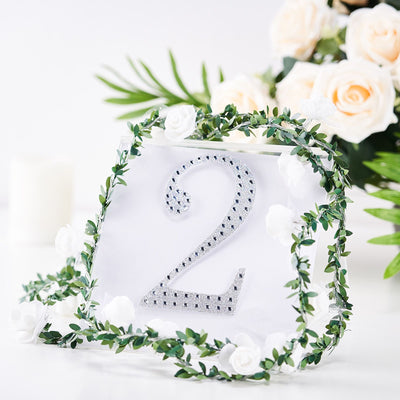6 inch Silver Self-Adhesive Rhinestone Number Stickers for DIY Crafts - 2