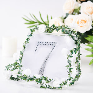 6 inch Silver Self-Adhesive Rhinestone Number Stickers for DIY Crafts - 7