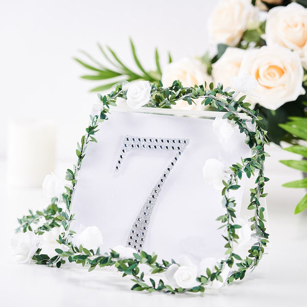 "6"" Silver Self-Adhesive Rhinestone Number Stickers for DIY Crafts - 7"
