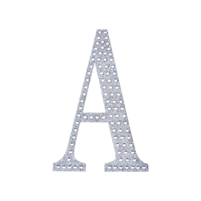 6 inch Silver Self-Adhesive Rhinestone Letter Stickers, Alphabet Stickers for DIY Crafts - A