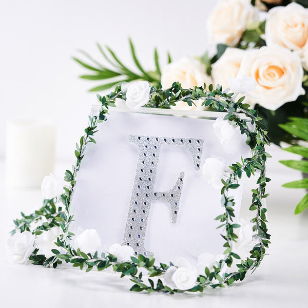 "6"" Silver Self-Adhesive Rhinestone Letter Stickers, Alphabet Stickers for DIY Crafts - F"