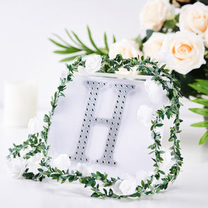 6 inch Silver Self-Adhesive Rhinestone Letter Stickers, Alphabet Stickers for DIY Crafts - H