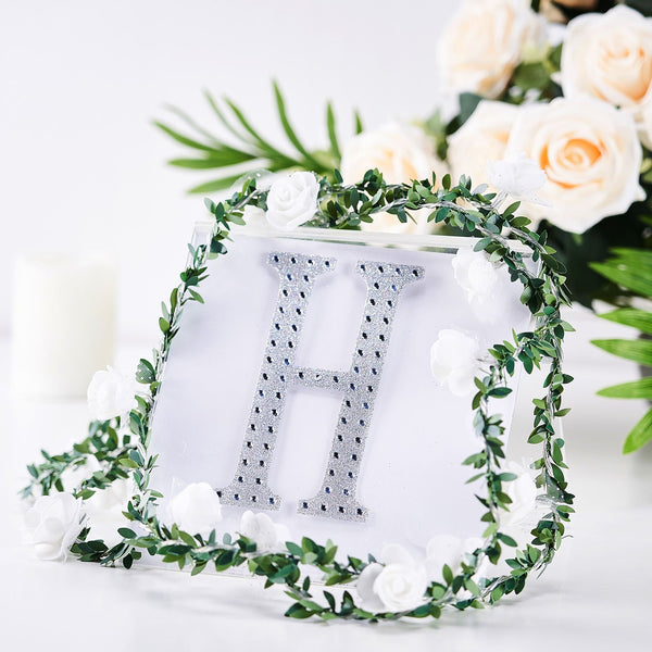 "6"" Silver Self-Adhesive Rhinestone Letter Stickers, Alphabet Stickers for DIY Crafts - H"