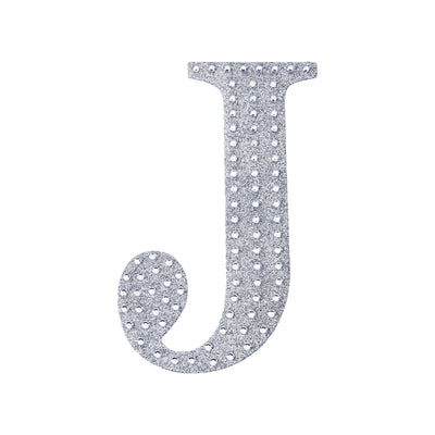 6 inch Silver Self-Adhesive Rhinestone Letter Stickers, Alphabet Stickers for DIY Crafts - J