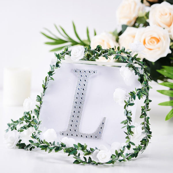 "6"" Silver Self-Adhesive Rhinestone Letter Stickers, Alphabet Stickers for DIY Crafts - L"
