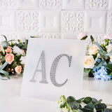 6 inch Silver Self-Adhesive Rhinestone Letter Stickers, Alphabet Stickers for DIY Crafts - R