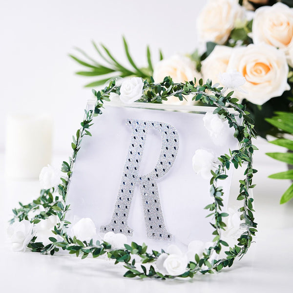 "6"" Silver Self-Adhesive Rhinestone Letter Stickers, Alphabet Stickers for DIY Crafts - R"
