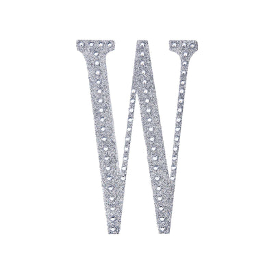 6 inch Silver Self-Adhesive Rhinestone Letter Stickers, Alphabet Stickers for DIY Crafts - W