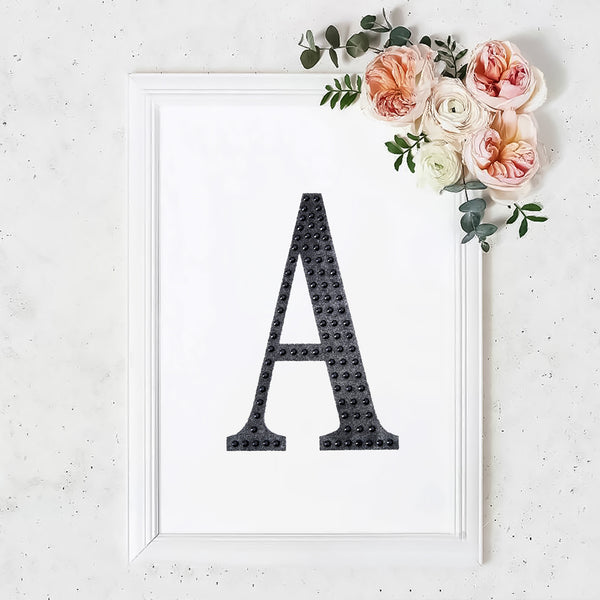 "8"" Black Self-Adhesive Rhinestone Letter Stickers, Alphabet Stickers for DIY Crafts - A"