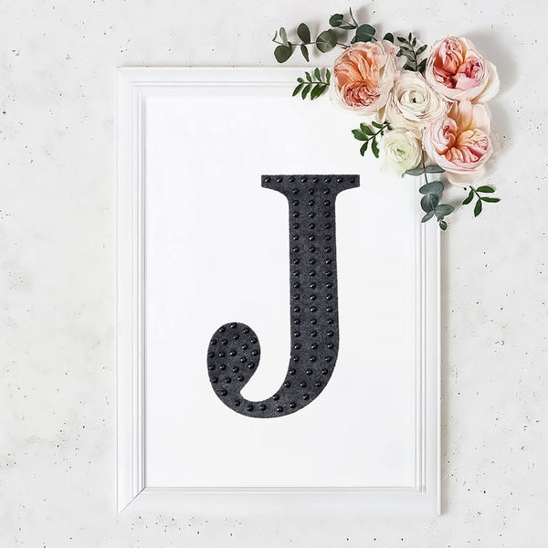 "8"" Black Self-Adhesive Rhinestone Letter Stickers, Alphabet Stickers for DIY Crafts - J"