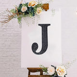 8 inch Black Self-Adhesive Rhinestone Letter Stickers, Alphabet Stickers for DIY Crafts - J