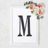 8 inch Black Self-Adhesive Rhinestone Letter Stickers, Alphabet Stickers for DIY Crafts - M