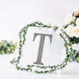 8 inch Black Self-Adhesive Rhinestone Letter Stickers, Alphabet Stickers for DIY Crafts - T