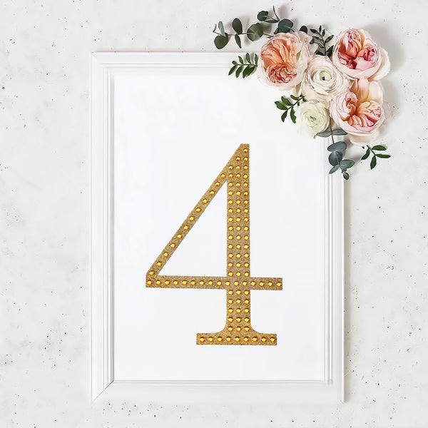 "8"" Gold Self-Adhesive Rhinestone Number Stickers for DIY Crafts - 4"