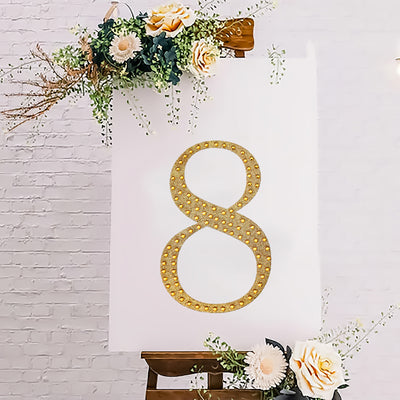 8inch Gold Self-Adhesive Rhinestone Number Stickers for DIY Crafts - 8