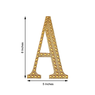 "8"" Gold Self-Adhesive Rhinestone Number Stickers for DIY Crafts"