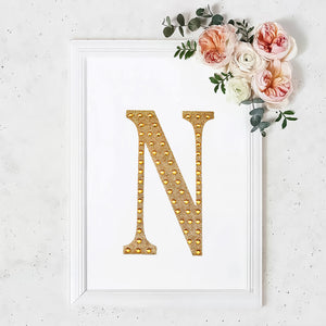 8inch Gold Self-Adhesive Rhinestone Letter Stickers, Alphabet Stickers for DIY Crafts - N