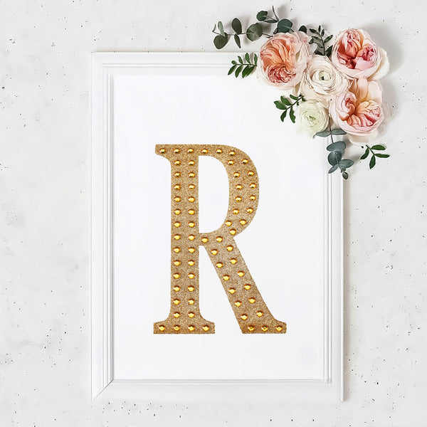 "8"" Gold Self-Adhesive Rhinestone Letter Stickers, Alphabet Stickers for DIY Crafts - R"
