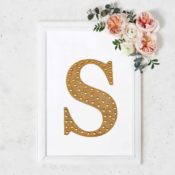 "8"" Gold Self-Adhesive Rhinestone Letter Stickers, Alphabet Stickers for DIY Crafts - S"