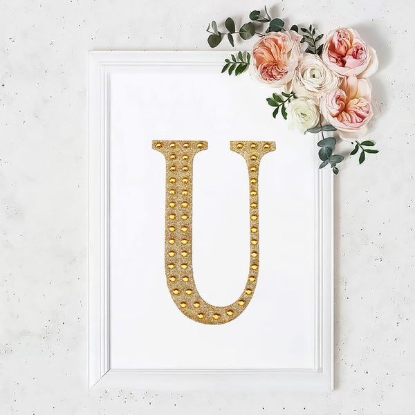 "8"" Gold Self-Adhesive Rhinestone Letter Stickers, Alphabet Stickers for DIY Crafts - U"
