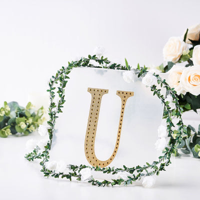 8inch Gold Self-Adhesive Rhinestone Letter Stickers, Alphabet Stickers for DIY Crafts - U