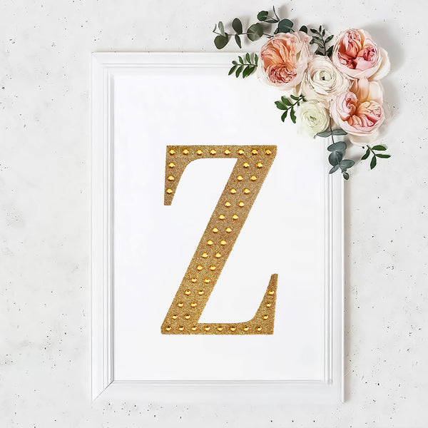 "8"" Gold Self-Adhesive Rhinestone Letter Stickers, Alphabet Stickers for DIY Crafts - Z"