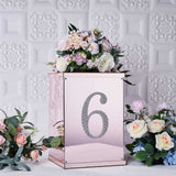 "8"" Silver Self-Adhesive Rhinestone Number Stickers for DIY Crafts - 6"