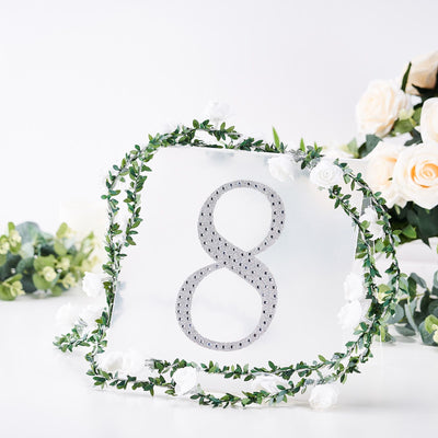 "8"" Silver Self-Adhesive Rhinestone Number Stickers for DIY Crafts - 8"