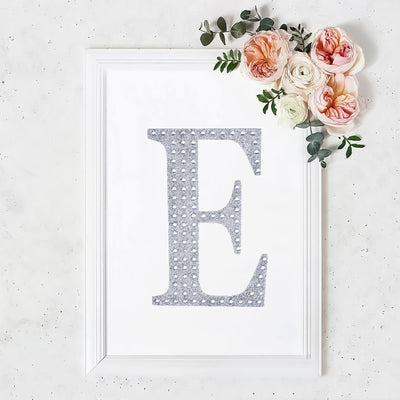 "8"" Silver Self-Adhesive Rhinestone Letter Stickers, Alphabet Stickers for DIY Crafts - E"