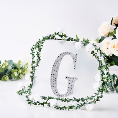 "8"" Silver Self-Adhesive Rhinestone Letter Stickers, Alphabet Stickers for DIY Crafts - G"