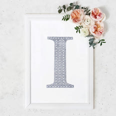 "8"" Silver Self-Adhesive Rhinestone Letter Stickers, Alphabet Stickers for DIY Crafts - I"