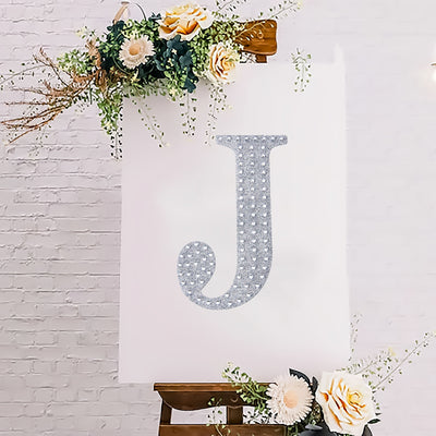 "8"" Silver Self-Adhesive Rhinestone Letter Stickers, Alphabet Stickers for DIY Crafts - J"