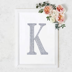 "8"" Silver Self-Adhesive Rhinestone Letter Stickers, Alphabet Stickers for DIY Crafts - K"