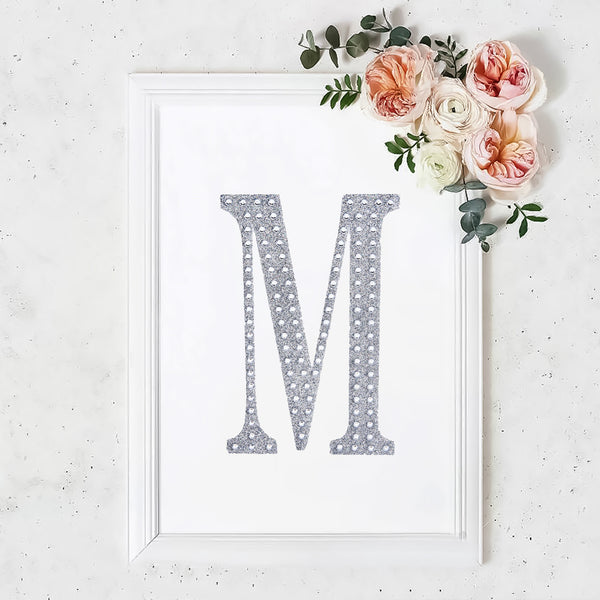 "8"" Silver Self-Adhesive Rhinestone Letter Stickers, Alphabet Stickers for DIY Crafts - M"