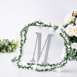 Silver Self-Adhesive Rhinestone Letter Stickers, Alphabet Stickers for DIY Crafts - M