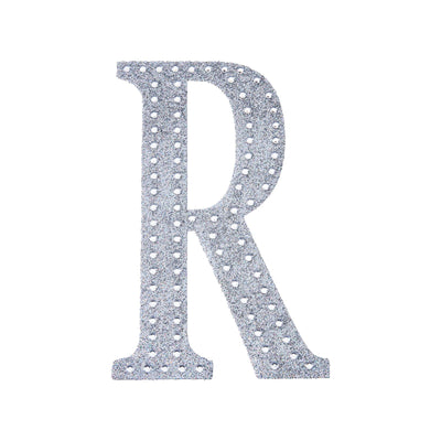 "8"" Silver Self-Adhesive Rhinestone Letter Stickers, Alphabet Stickers for DIY Crafts - R"
