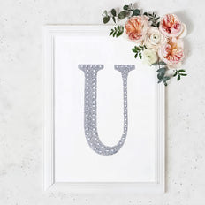 "8"" Silver Self-Adhesive Rhinestone Letter Stickers, Alphabet Stickers for DIY Crafts - U"