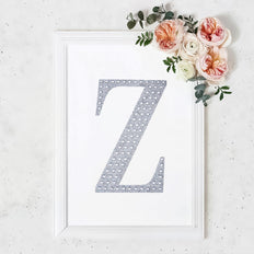 "8"" Silver Self-Adhesive Rhinestone Letter Stickers, Alphabet Stickers for DIY Crafts - Z"