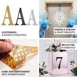 "6"" Gold Self-Adhesive Rhinestone Letter Stickers, Alphabet Stickers for DIY Crafts - W"