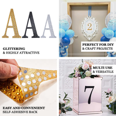 "6"" Gold Self-Adhesive Rhinestone Number Stickers for DIY Crafts - 7"