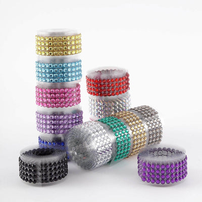 3 FT | Purple | Stick on Rhinestone Tape | DIY Self Adhesive Diamond Rhinestone Stickers
