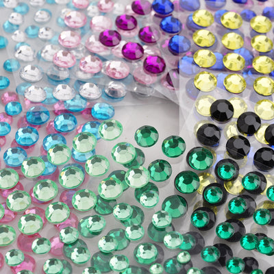 594 Pcs Self Adhesive Multi-sized Fushia Rhinestone DIY Stickers