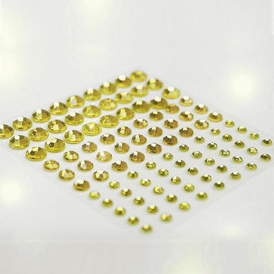 594 Pack | Yellow Self Adhesive Multi-sized Rhinestone DIY Stickers