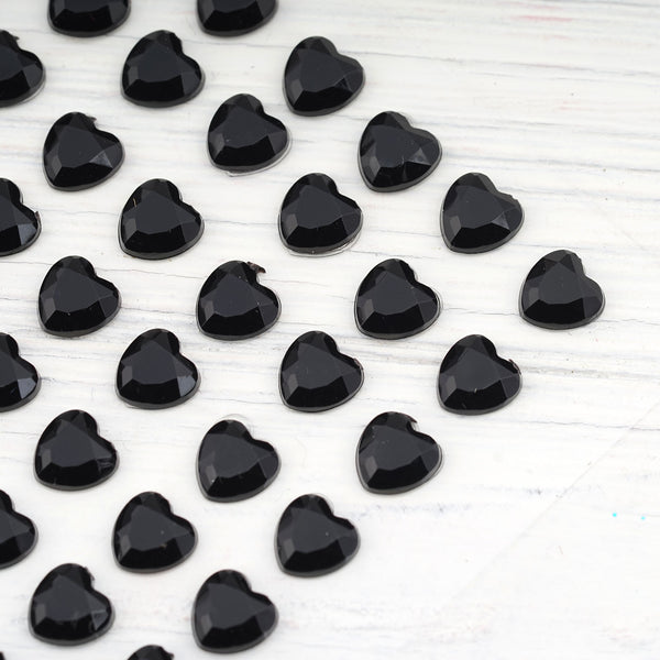 6 Sheets | 600 Pcs Black Heart Design Self Adhesive Diamond Rhinestone DIY Stickers