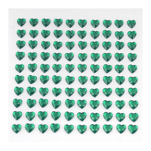 6 Sheets | 600 Pcs Hunter Emerald Green Heart Design Self Adhesive Diamond Rhinestone DIY Stickers