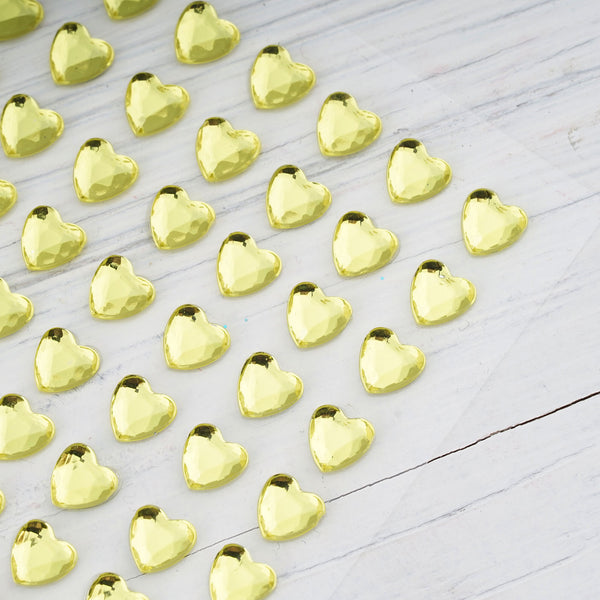 6 Sheets | 600 Pcs Yellow Heart Design Self Adhesive Diamond Rhinestone DIY Stickers