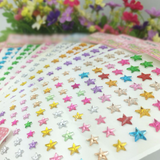 600 Pcs Self Adhesive Pink Diamond Rhinestone Star Shaped DIY Stickers