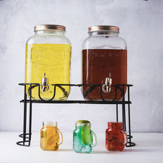 Set of 2 | 4 Liter Mason Jar Glass Beverage Dispenser with Spigot, Metal Lid and Black Stand